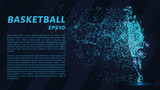 Basketball of particles on a dark background. Basketball player consists of geometric shapes. Vector illustration.