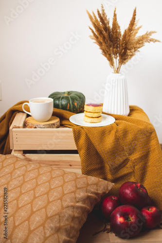 White Cup of Coffee Cappuccino Cottage Cheese Pancakes, Yellow Mustard Color Plaid, Bedroom, Autumn Concept, Cosiness © milenie