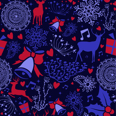 Christmas deer decoration icon seamless pattern