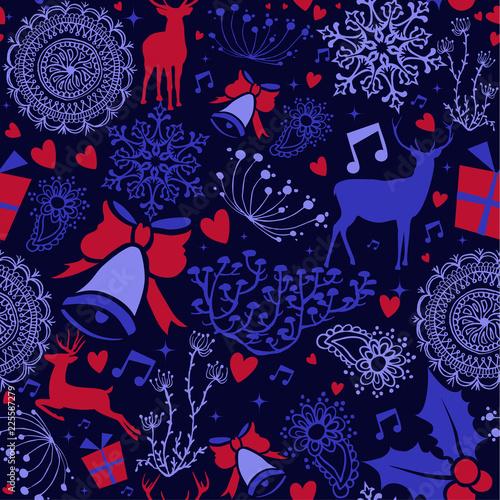 Christmas deer decoration icon seamless pattern