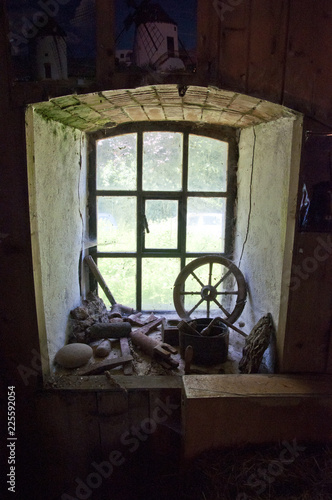 View from inside through an old window in a windmill © Ralf