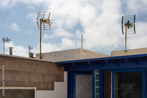 Bottom view of the roof of a modern house in a spanish village