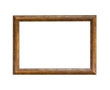 Isolated blank wooden picture frame on white background - 225606847