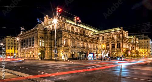 obraz lub plakat Wiener Opernhaus bei Nacht