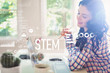 STEM with young woman holding a pencil