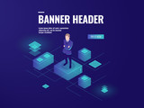 Futuristic background with man stay on the platform, business audit, data analysis and processing isometric vector - 225615041