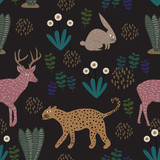 Floral pattern with leopard, rabbit, and deer. Seamless cute childish drawing. Kids and children hand drawn style colorful vector illustration for your wallpaper, background, textile fashion print. - 225616870