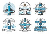 Lighthouse beacons icons signs for nautical club