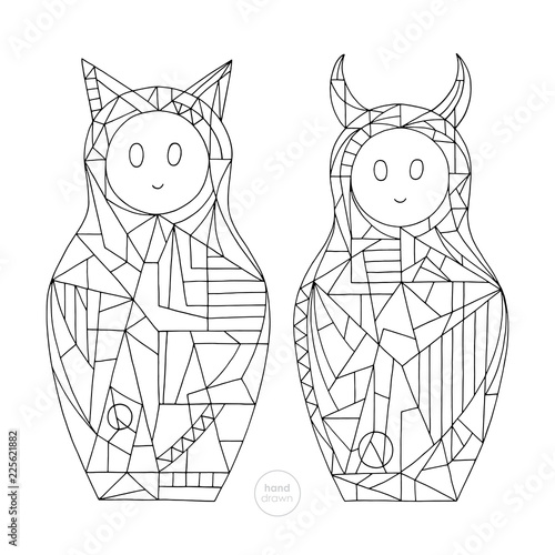 Abstract girls coloring book. Hand drawn cat and devil characters vector illustration. Stylized nesting doll outlines. - 225621882