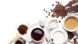 Variety types of coffee and ingredients