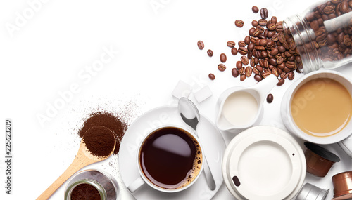 Wall mural Variety types of coffee and ingredients