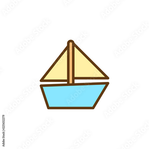 Sailboat toy filled outline icon, line vector sign, linear colorful pictogram isolated on white. Toy boat symbol, logo illustration. Pixel perfect vector graphics