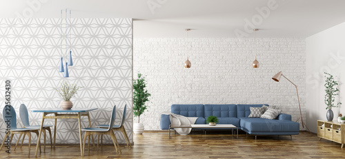Leinwandbild Motiv Interior of living room with sofa and table and chairs 3d rendering