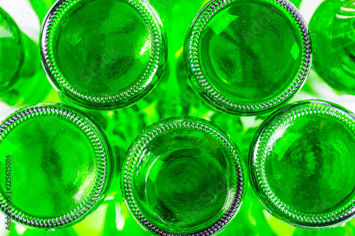 green bottle isolated white background for packing water and alcohol. - 225635086