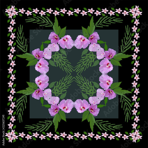 Beautiful flowers and leaves. Floral pattern for textile print, scarf, shawl. Vector illustration in hand drawn style. - 225637241