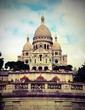 Basilica of Sacred Heart at Montmartre in Paris in France with v