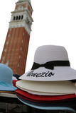 straw hat with text Venezia in Venice in Italy on white backgrou