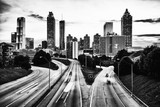 Black and white skyline of Atlanta, Georgia, USA - 225652657