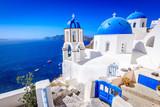 Oia, Santorini, Greece - Blue church and caldera - 225657471