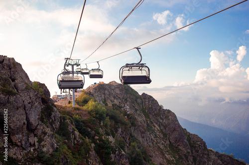 Leinwandbild Motiv Ropeway on top Roza Peak. Sochi, Krasnodar Krai, Russia