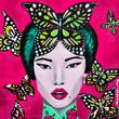 dipinto bella donna orientale con farfalle