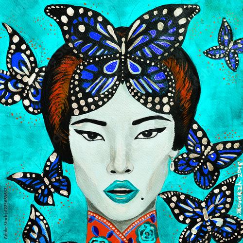 dipinto ragazza bella e farfalle blu - 225665632