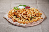 Big wooden tray with different types of fried potatoes and sauces - 225666891