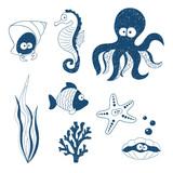 Cute Sea animals set. Doodle children drawings. Vector illustration.
