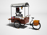 Modern cart with coffee machine 3d render on gray background with shadow - 225673877