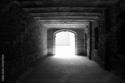 The light at the end of tunnel, black and white photography