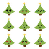 Set, collection of cute cartoon seasonal christmas tree character with different facial expressions, emotion icons, emoji. - 225674851