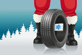 Santa and automobile tires. Santa offers automobile tires with winter marking for Christmas.
