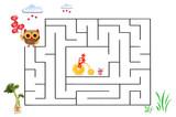 Funny maze game for Preschool Children. Illustration of logical education for children of preschool age. - 225681674