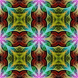 Multicolored flower pattern in stained-glass window style. You can use it for invitations, notebook covers, phone cases, postcards, cards, wallpapers and so on. Artwork for creative design. - 225682642