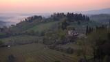 misty morning panorama from the San Gimignano walls, Toscana, Italy - 225683657