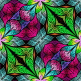 Multicolored floral pattern in stained-glass window style. You can use it for invitations, notebook covers, phone cases, postcards, cards, wallpapers and so on. Artwork for creative design. - 225684085
