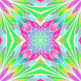 Multicolored floral pattern in stained-glass window style. You can use it for invitations, notebook covers, phone cases, postcards, cards, wallpapers and so on. Artwork for creative design. - 225684419