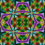 Multicolored floral pattern in stained-glass window style. You can use it for invitations, notebook covers, phone cases, postcards, cards, wallpapers and so on. Artwork for creative design. - 225686266