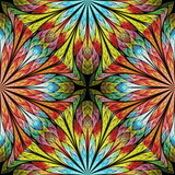 Multicolored floral pattern in stained-glass window style. You can use it for invitations, notebook covers, phone cases, postcards, cards, wallpapers and so on. Artwork for creative design. - 225687202
