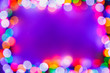 Leinwandbild Motiv Christmas bokeh multicolor lights frame