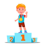 Happy Children On A Sports Pedestal With Gold Medal Vector. Competition. Isolated Illustration