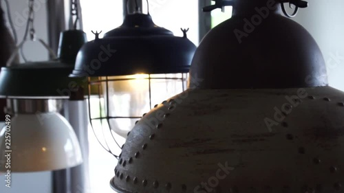 Industrial style lights in a restaurant © blackboxguild