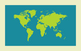 Green Worl map on blue background. Vector illustration