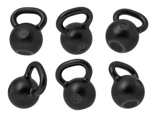 3d rendering of 12 kg several black iron kettlebells hanging at different angles on a white background. © gearstd