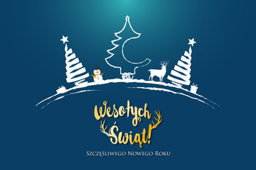 Polish Christmas and Happy New Year greeting card.