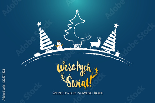 Polish Christmas and Happy New Year greeting card. - 225711822