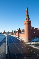 Kremlin embankment in Moscow on a Sunny winter day, Russia