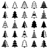 Christmas tree icon collection - vector illustration - 225712856