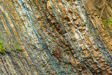 colorful rock layers interesting background with fascinating texture