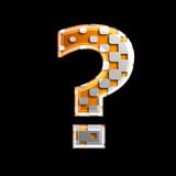 halftone interrogation point - 3d metallic symbol - design, modernity or technology concept - 225720840